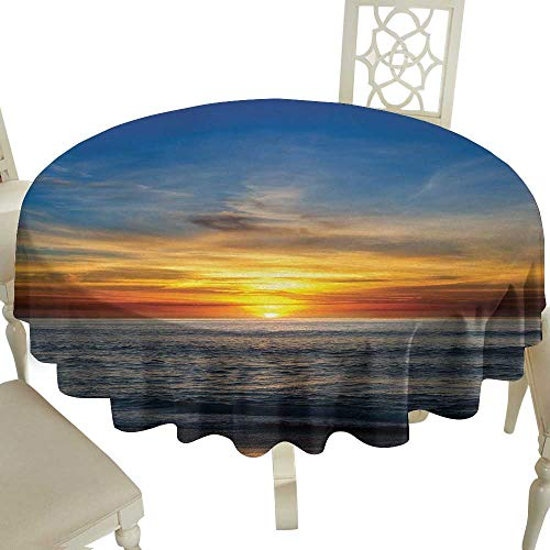 Checkered Round Tablecloth 65 Inch Ocean,Sunset Over Pacific Ocean from La Jolla California Sunlight Colored Sky Photo Print,Orange Blue Great for,Bar & More