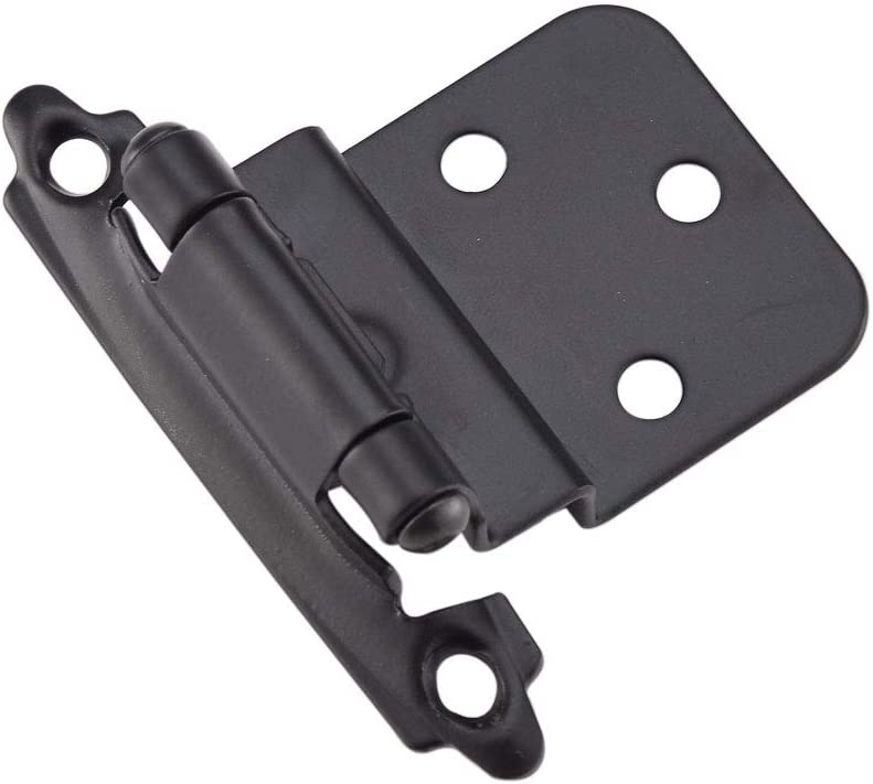 """Face Mount Variable 3/8"""" Inset Cabinet Door Hinges, Self Closing Semi-Concealed Flat Black Hinge for Kitchen Cabinets, 20 PCS"""