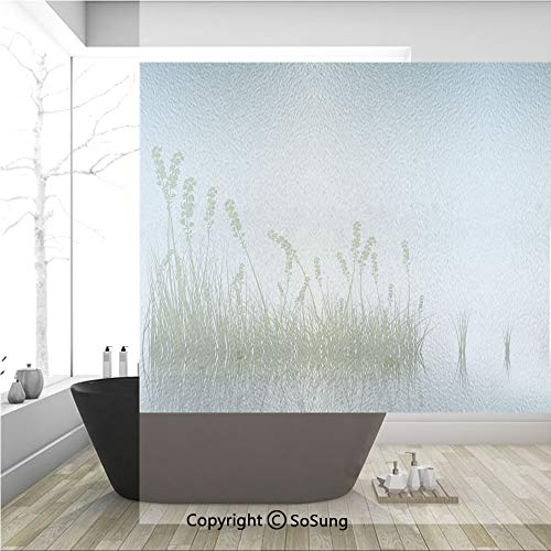 3D Decorative Privacy Window Films,Scenery of a Lake Bushes Grass with Reflection Floral Art Image Print,No-Glue Self Static Cling Glass Film for Home Bedroom Bathroom Kitchen Office 36x36 Inch (Grass Damask Floral)
