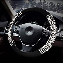 "HCMAX Premium Plush Vehicle Steering Wheel Cover Quality Comfy Winter Soft Car Steering Wheel Protector Universal Diameter 38cm(15"")Leopard Print White"