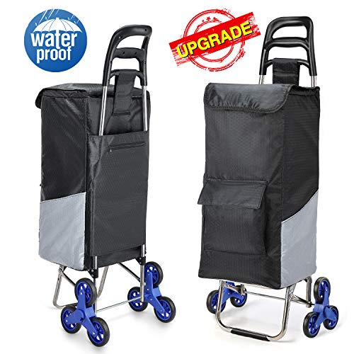 Lenbest Upgraded Tri-Wheels Shopping Cart, Grocery Cart with Stainless Steel Frame Extended Long Handle Foldable Utility Cart with 6 Large Storage Waterproof Pockets No Tools Required Install
