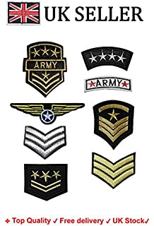Fat-catz-copy-catz 2x Silver Sarge Sergeant Stripes Military Army Ranking Iron on Sew on Embroidered Badge Applique Motif Patch