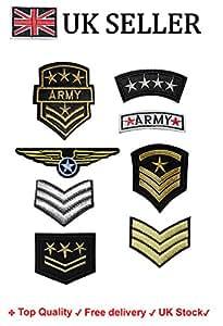 Conjunto de 8 parches bordados para planchar o coser, diseño con motivos militares