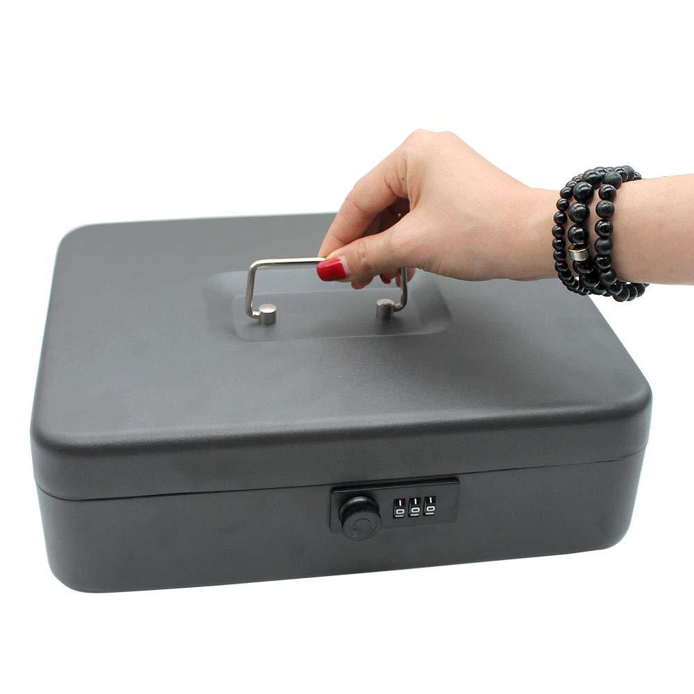 Big Money Box with Key Lock - Durable Metal Cash Box with Metal Tray Black, Password Lock Box 11.89.53.5 inches