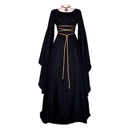wildeal moda Vintage mujeres irregular vestido con cinturón manga larga o cuello Victoriano Cosplay Fiesta Disfraz