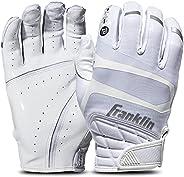 Franklin Sports Hi-Tack Premium Football Receiver Gloves - White - Adult Large