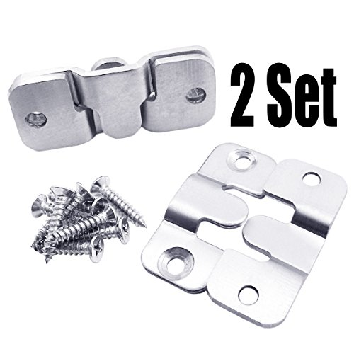 QY 2Set 4PCS 44MM Interlocking Flushmount 304 Stainless Steel Photo Frame Hooks for Large Picture Display Hanger Art Gallery Wall Mount Heavy Duty Clip