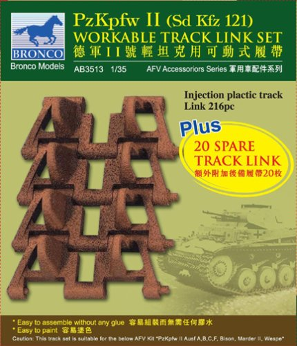 /Accesorios de construcci/ón pzkpfw II workable Track Link Set Unbekannt Bronco Models ab3513/