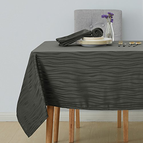 Deconovo Decorative Jacquard Tablecloth Wrinkle and Water Resistant Spill-Proof Tablecloths Vibrant Waves for Rectangular Tables 60 x 120 inch Grey 120 In Work Table