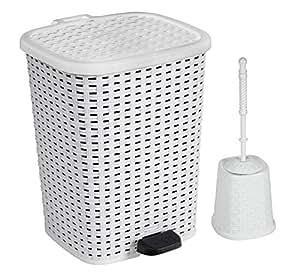 Rattan wicker style bathroom set toilet for Bathroom bin and brush set