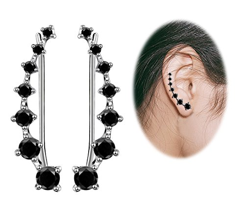 (Sterling Silver Sweep up Ear Pin Crawler Cuff Wrap Climber Earrings with 7 CZ Stones (A Sterling Silver 1))