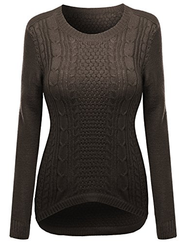 Mocha Marble Top - Awesome21 27 inch Long Cable Knit Sweater with Adorable Colors Mocha Size S