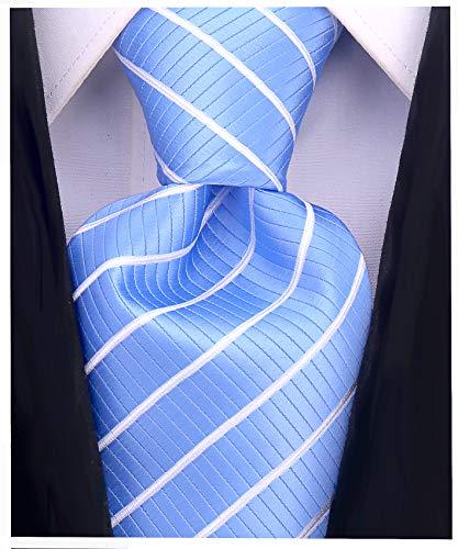 (Striped Ties for Men - Woven Necktie - Baby Blue)