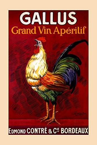 "Rooster Gallus Grand Vin Wine Aperitif Bordeaux France French By Cappiello Vintage Poster Repro 24"" X 36"" Image Size SHIPPED ROLLED. We Have Other Sizes Available!"