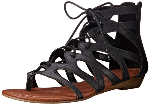Rampage Womens Santini Cutout Lace-Up Open Toe Ankle Strap Gladiator Sandal Black 1SkSH