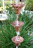 Florence Cup Copper Rain Chain with Installation Kit (8.5 Foot)