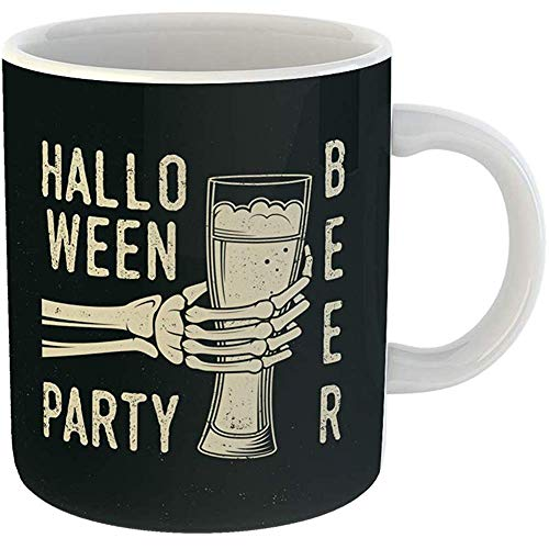 (Coffee Cups Tea Mug Gift 11 Ounces Funny Ceramic Halloween Beer Party Retro Badge Overlay Labels Seal Stamp Skeleton Hand Glass Gifts For Family Friends Coworkers Boss)