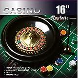 DA VINCI 16-Inch Roulette Wheel Game Set with 120, 11.5-Gram Chips, Full Size 3x6-Feet Felt Layout, and Rake