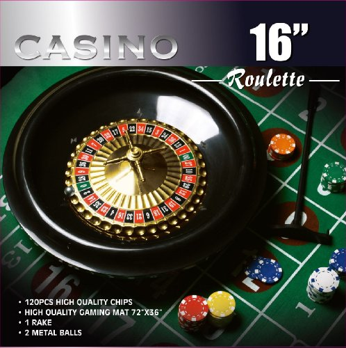 Da Vinci 16-Inch Roulette Wheel Game Set with 120 11.5-Gram Chips, Full Size 3'x6' Felt Layout, and Rake -
