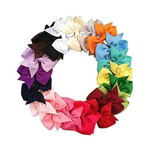 NUOLUX Colorful Hair Clips Hair Bows Girls Alligator Clip Grosgrain Ribbon Hair Clips 20Pcs