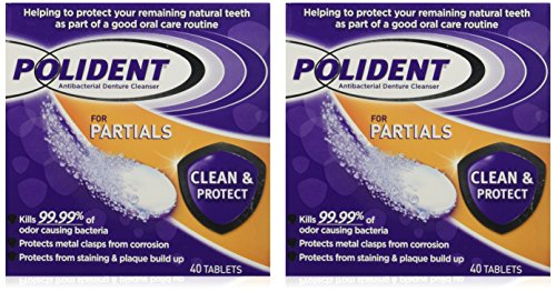 Polident Polident Partials Denture Cleanser, 40 Count (Pack of 2) packaging may vary