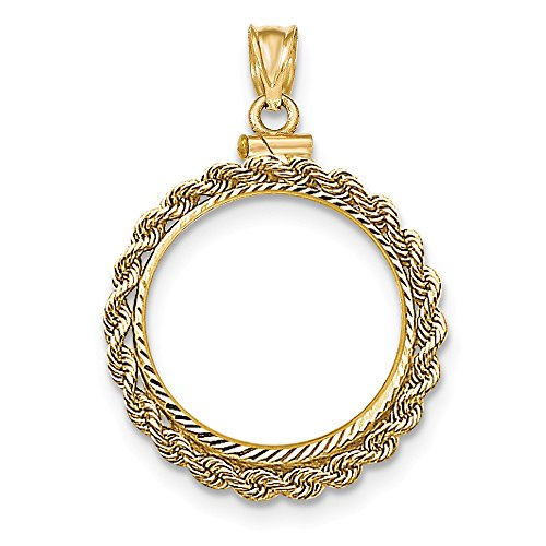 (Jewelry Stores Network 14k Yellow Gold Hand Made Rope D/C Screw Top 1/4 oz American Eagle Coin Bezel)