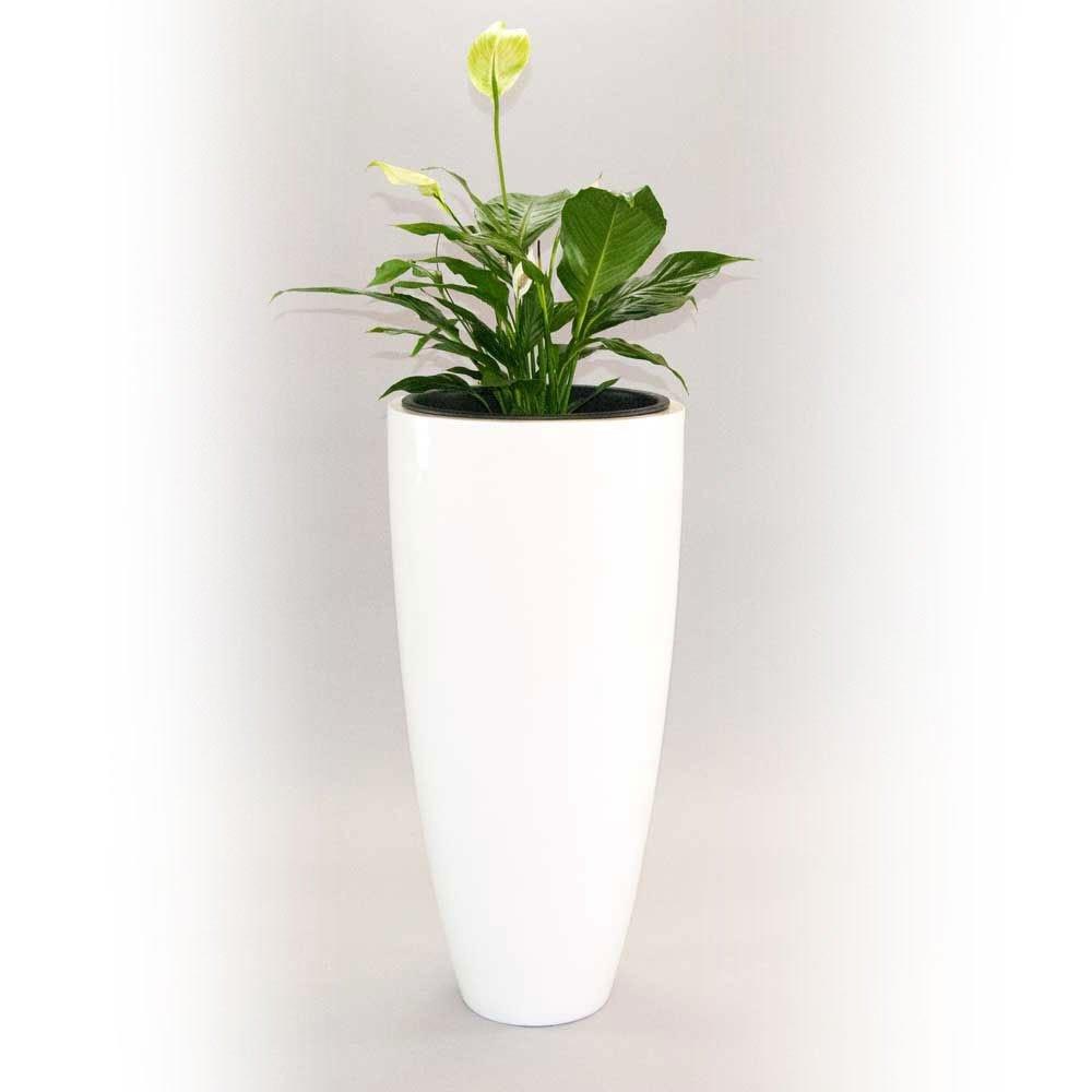 Pflanzkübel Blumenkübel Blumentopf Fiberglas rund konisch D38xH80cm hochglanz weiß.