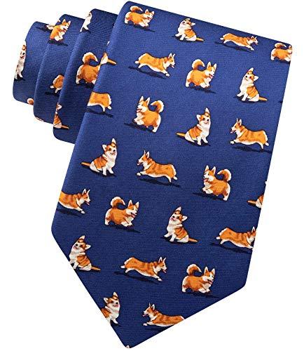 (Men's 100% Silk Rowdy Welsh Corgi Dog Lover Animal Novelty Necktie Tie (Navy Blue))