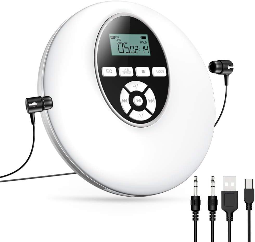Gueray Lecteur CD Portable Walkman avec Casque Haute R/ésolution sans Perte Audio Num/érique Walkman LCD Affichage Programm/é Jouer Lecteurs de CD Personnels pour Voiture Enfants Noir