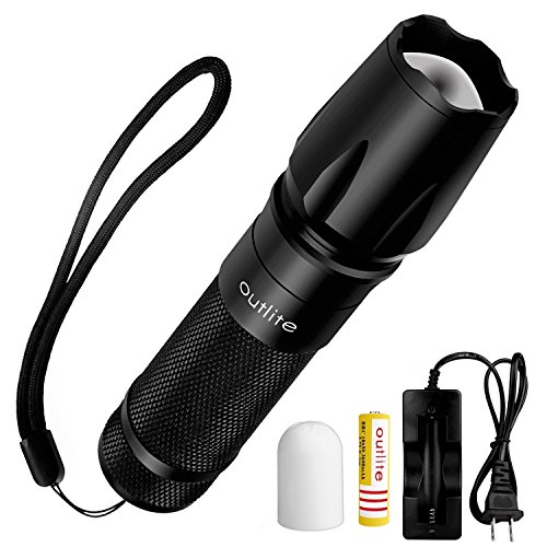 Tactical Flashlight Torch, Outlite High-Powered LED Flash Light, Rechargeable Tac Light, Water Resistant Handheld Flashlight, Zoomable and 5 Modes (Rechargeable 18650 Battery and Charger Included)
