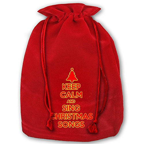 Keep Calm And Sing Christmas Songs Reusable Christmas Drawstring Gift Bag Great For Holiday Party Wedding Xmas Favors Bags Pouch Candy Santa Sack Backpack