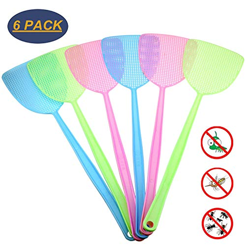 Plastic Fly Swatter - 6 Pack Fly Swatter Manual Swat Pest Control Plastic with Long Handle Assorted Sweet Colors