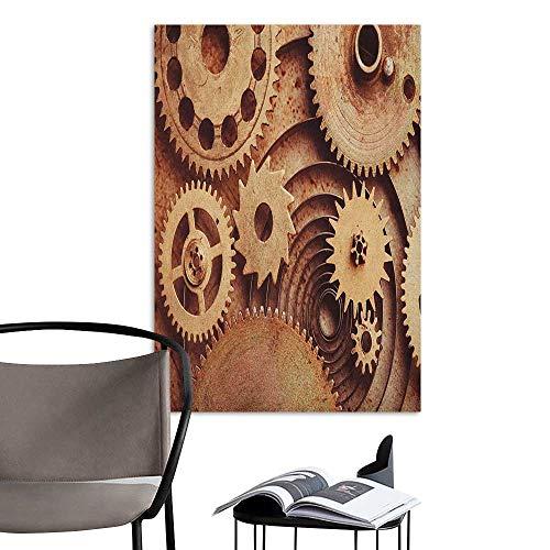 Alexandear Art Decor 3D Wall Mural Wallpaper Stickers Industrial Inside The Clocks Theme Gears Mechanical Copper Device in Steampunk Style Print Cinnamon Kitchen Room Wall W8 x H10