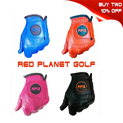 MENS LH-RPG COLORED GOLF GLOVES 100% CABRETTA LEATHER (Pink, Large)-Perfect to match colors with your golf shirt, golf pants, golf hat, golf bag, golf brush, golf towel, golf tees, divot tool, etc (Pink Golf Glove)