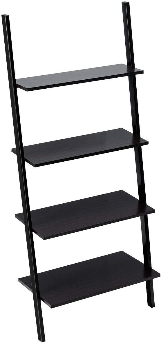 4 Tier Ladder Shelves Rustic Black Durable Sturdy Heavy Duty Versatile Contemporary Rust Proof for Home Office Bedroom Living Room Indoor Outdoor Plant Stand Hallway Entryway Flower Pots Apartment