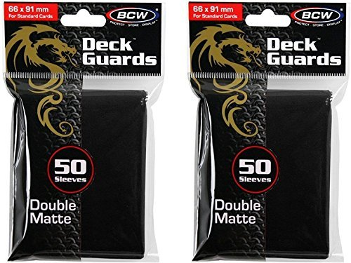 BCW 2 50ct Packs (100) Mat Deck Guard BLACK DOUBLE MATTE Finish for Standard Size Collectible Cards - Deck Protector Sleeves for MTG Magic the Gathering, Pokemon, L5R, WOW, [2-Pack Bundle] by BCW Gaming