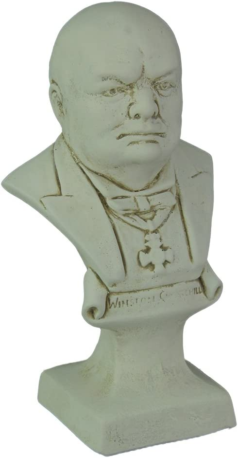 Things2Die4 Museum White Finish Winston Churchill Bust Statue