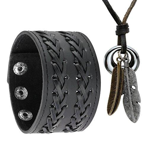 Jusnova PU Black Leather Bracelet & Alloy Feather Pendant Necklace Set for Men Women Adjustable