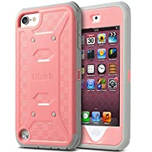 iPod Touch 6 Case ,iPod Touch 5 Case ,ULAK [KNOX ARMOR] Dual Layer Hybrid Protective Cover with Belt Clip Holster(Baby Pink)