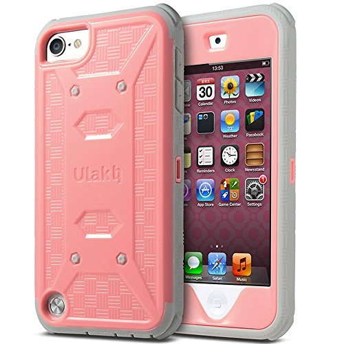 ULAK iPod Touch 6 Case,iPod Touch 5 Case,[KNOX ARMOR] Dual Layer Hybrid Protective Cover with Belt Clip Holster  - Retail Packaging - Baby pink ()
