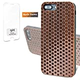 iProductsUS Geometric Wood Phone Case Compatible with iPhone 8, 7, 6/6S (Regular Size) and Screen Protector-Engraved Hexagons Dark Cherry Wood Cases, Built-in Metal Plate, TPU Shockproof Cover (4.7')