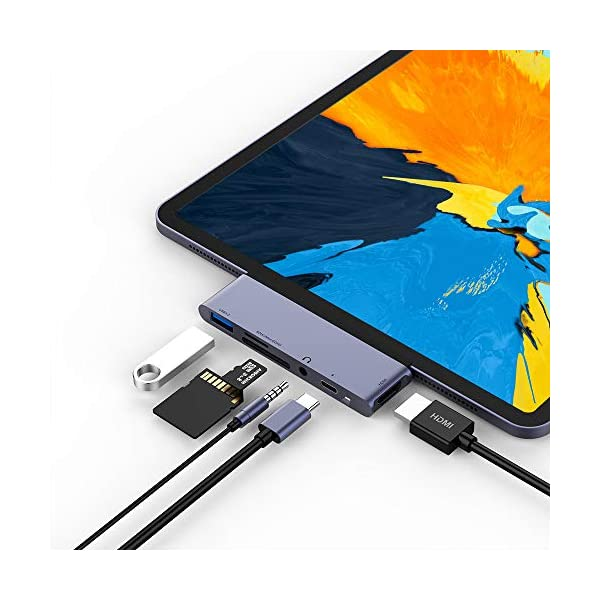 USB C Hub for iPad Pro 2018, 6 in 1 USB C to 4K HDMI Adapter with USB3.0, SD/TF Card Reader, 3.5mm Headphone Jack, PD Charging, HDMI Converter Compatible with iPad Pro 11″/12.9″ 2018 & MacBook Pro