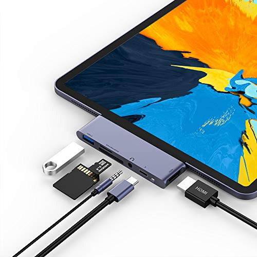 USB C Hub for iPad Pro 2018, 6 in 1 USB C to 4K HDMI Adapter with USB3.0, SD/TF Card Reader, 3.5mm Headphone Jack, PD Charging, HDMI Converter Compatible with iPad Pro 11