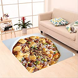 Sophiehome skid Slip rubber back antibacterial  Area Rug mapo tofu mapo doufu chinese cuisine 56436583 Home Decorative