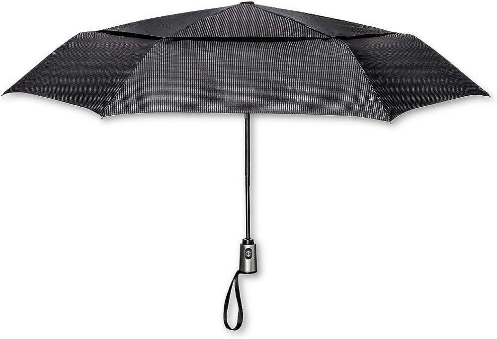 Black Houndstooth ShedRain Auto Open//Close Air Vent Compact Umbrella