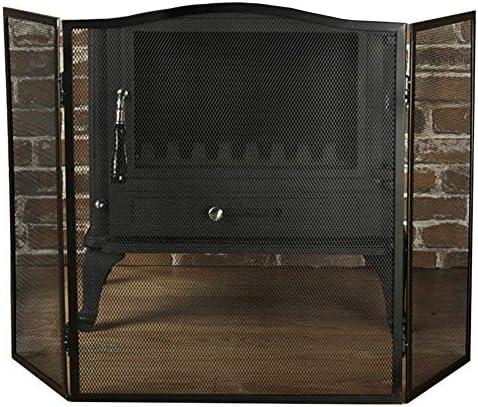 暖炉スクリーン ブラックファイアガードスクリーン/暖炉の安全スクリーン/スパーク炎証明メッシュ - 3つの拡張可能なヒンジパネル 身長61cm (Color : Black)