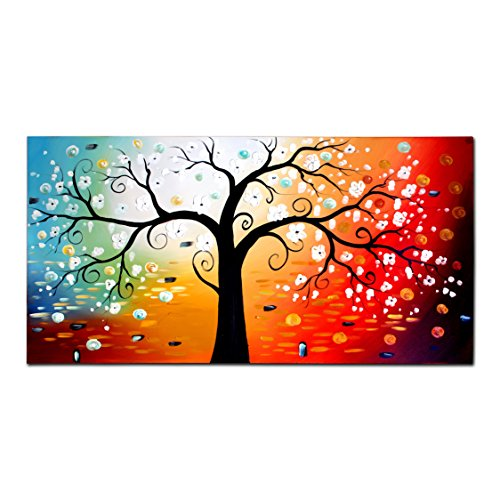 FLY SPRAY 1-Piece 100% Hand Painted Oil Paintings Stretched Framed Ready Hang Flower Landscape Tree Flower Modern Abstract Painting Canvas Living Room Bedroom Office Wall Art Home Decoration by FLY SPRAY