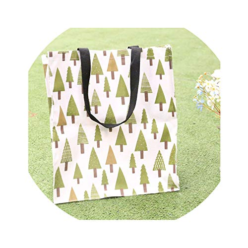 Portable Shopping Canvas Bag Handbag Storage Student Book Bag Waterproof Lunch Box Bag Environmentally Friendly Bag,Tree,M