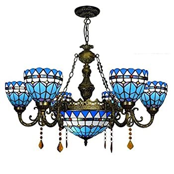 Tiffany Style Pendant Lamp, European Mediterranean Stained Glass 8 Head Chandelier With Segmented Remote Control, Creative Living Room Dining Room Bedroom Crystal Decorative Pendant Light