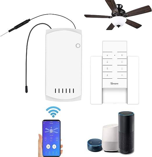 Galapara - Kit de mando a distancia universal para ventilador de techo con control remoto WiFi - Interruptor inteligente SONOFF-IFan03 + controlador RM433 + base de controlador: Amazon.es: Hogar